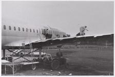 WAT001009216 Plaatsing van een restaurant, in een vliegtuig(DC8). Jaren later afgebrand.