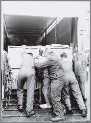 WAT001016026 Veetransport. Het afsluiten van de hekken van de veewagen.