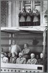WAT001016181 Kaasmarkt taptoe. Van links naar rechts: Wim Brinkman, Tom van Es, Raymond Koot. De drie trompettisten ...