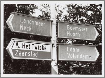 WAT001017095 Verkeersbord nummer 955, 2 van de ANWB.Landsmeer Neck, Beemster Hoorn, Het Twiske Zaanstad, Edam Volendam.