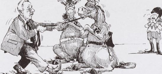 WAT001017284 spotprent twee paarden/ezels die geen zin hebben om mee te werken.