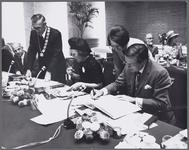 WAT001017473 Taborkerk. Werkbezoek H.K.H. Prinses Beatrix en Prins Claus aan Purmerend. Toespraak van M.J. Boelse, ...