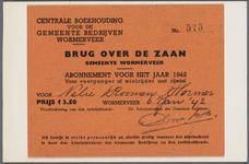 WAT002000028 Abonnement voor 1942 voor voetganger of wielrijder met rijwiel voor de tolheffing van de brug over de Zaan