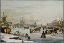 WAT002000013 Schilderij van Klaas van Vliet (1841-1917) met de bevroren Zaan nabij de Zaanbrug waar op 16 januari 1901 ...