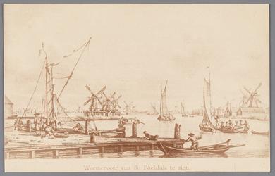 WAT002000219 Ansichtkaart van tekening van gezicht op Wormerveer links het Noordeinde met diverse molens. Rechts aan de ...