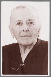 WAT002001185 Aaltje Bank-Binken, geboren in 1886. Zij had een kruidenierswinkel op Dorpsstraat nummer 283.