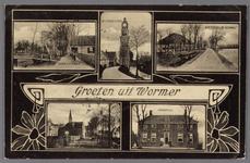 WAT002001517 Groeten uit Wormer, De Dorpsstraat, de beschuittoren, boerderij ''De Schans'' en het oude raadhuis.