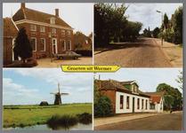 WAT002001524 Groeten uit Wormer, links het oude raadhuis, gebouwd als koopmanshuis omstreeks 1660.Vanaf 1818 in gebruik ...
