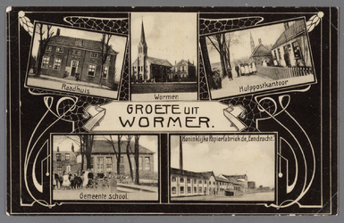 WAT002001518 Groeten uit Wormer, het oude raadhuis, Katholieke kerk, postkantoor, gemeente school en de Koninklijke ...