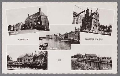 WAT002001566 Groeten uit Wormer en Jisp: Linksboven het Raadhuis op Dorpsstraat 350, rechtsboven het Raadhuis uit 1650 ...