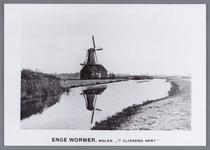 """WAT002001971 Doppenmolen ''Het Vliegend Hert"""" achtkantige bovenkruier op schuur, te Wormer aan de Engewormersloot, iets ..."""