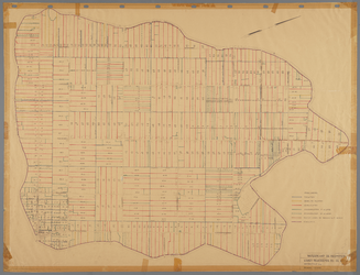 WAT001020491 Kavelkaart van de Beemster, met de kavelnummers en in kleur de verschillende categorieën sloten