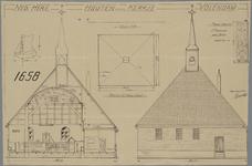 WAT001021101 Doorsnede, projectie en aanzicht van de Nederlands-Hervormde kerk van Volendam, alsmede de tekeningen van ...