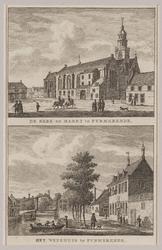 WAT001020886 Gezicht op een gedeelte van de Kaasmarkt met de Grote Kerk en gezicht op de Burgwal met het Weeshuis.