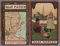 WAT001020916 Overzichtskaartje met route van de bootdienst naar Marken en gezicht op Marken met Marker familie.