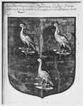 WAT003004049 Afbeelding : wapen van Frans Banning Cocq.Wapen met drie ooievaars op turf trappers.Afkomstig uit het ...
