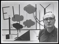 WAT003006611 Harrie Peters in Museum Waterland. Een keuze uit drie jaar werk. Grote olieverfschilderijen en ...