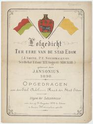 WAT053000019 Titelpagina van een op muziek gezet loflied op Edam ter gelegenheid van de historische optocht op 31 ...
