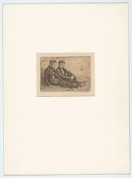 WAT053000040 Tekening van twee Volendamse jongens, met uitzicht op de Zuiderzee