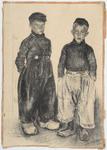 WAT053000143 Tekening van twee jongens in Volendammer dracht