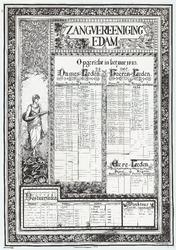 WAT053000160 Namenlijst van de leden, bestuurslede, ereleden en directeur van Zangvereeniging Edam in 1933 en 1958, met ...
