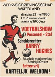 WAT053000163 Affiche met aankondiging van de voetbalwedstrijd van het personeel van het werkvoorzieningsschap Waterland ...