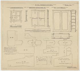WAT054000045 Tekeningen van glaskozijn slaapkamertje, draairamen lokaal no 3 en leermiddelenkast met details van ...