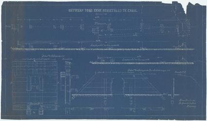 WAT054000069 Plattegrond, lengteprofiel en doorsneden van een schietbaan; details van de schietpoorten en de schoeiing ...