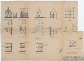 WAT054000084 Geveltekeningen, doorsnede en plattegronden van de geplande nieuwbouw met situatieschets
