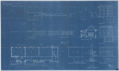 WAT054000090 Plattegrond , geveltekeningen en doorsnede voor het uitbreidingsplan van de katholieke school.