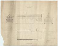 WAT054000126 Geveltekening, doorsneden en plattegrond van de stadsburgerschool met plan tot vergroting in 1867