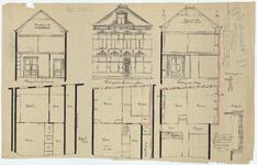 WAT054000248 Doorsneden, geveltekening en plattegronden van de nieuwe en de bestaande toestand van ...