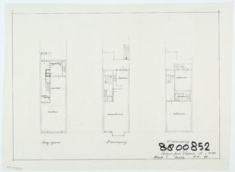 WAT054000263 Blad 1, plattegrond van begane grond en verdiepingen van Peperstraat 18