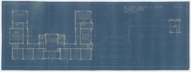 WAT054000289 Blad No. 4. Plattegrond van de verdieping van de Rijks H.B.S. te Purmerend