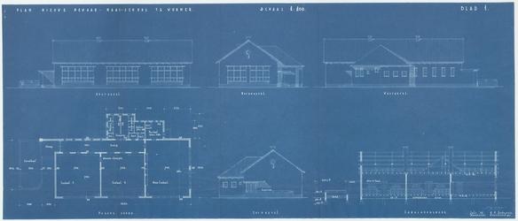 WAT054000350 Bouwtekening voor de R.K. Bewaar- en Naaischool aan de Dorpsstraat in Wormer. De school werd gebouwd aan ...