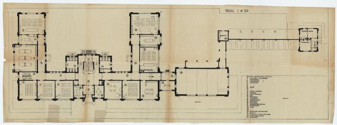 WAT054000286 Plattegrond van de begane grond van de Rijks H.B.S. te Purmerend met nummers en bestemmingen der ...