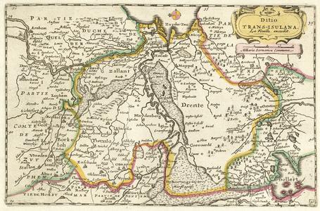 -PBO014 Ditio | TRANS-ISULANA. 1 kaart. Kaart van Overijssel en Drenthe uit de Atlas Portatif, of Het nieuwe Theater ...