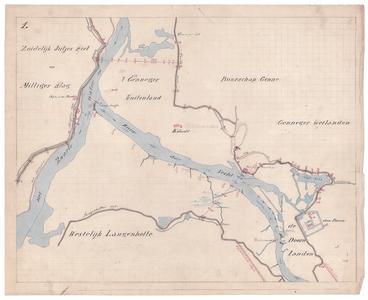 19223-B10.1 [Geen titel] Kaart van de Vecht, van de monding in het Zwarte Water tot Huis Den Doorn, met voorstel tot ...