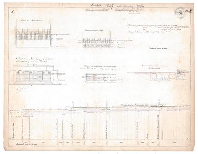 19231-23X1 Staring en Stieltjes. Overijsselsche Wateren. Bladz. 17 Lengtedoorsnede en dwarsdoorsneden van de Dinkel ...