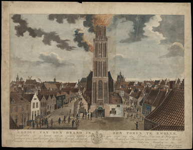 11 -2 Afbeelding van de brand in de Peperbus (toren Onze Lieve Vrouwenkerk) op 11 januari 1815, proefdruk opgedragen ...