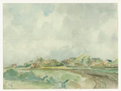 15 -19 Gezicht op Wilsum met op de voorgrond een dijk., 1943