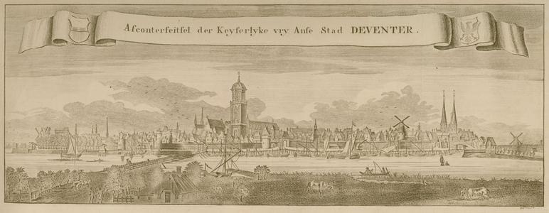 16 -13 Gezicht op Deventer, de hanzestad. Titel in een banier met aan weerszijden de wapenschilden van Deventer en ...