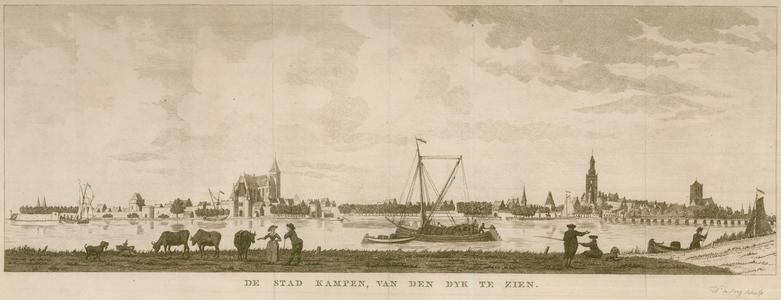 16 -14 Gezicht op Kampen vanaf de dijk., 1700
