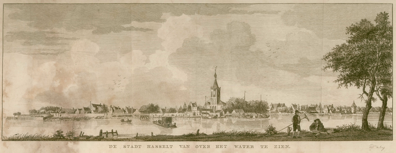 16 -15 Gezicht op Hasselt van over het Zwarte Water., 1700