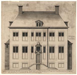 16 -2 Voorgevel van het huis van Bathrolomeus van der Burgh Ootmarsum. Tekst later aan de afbeelding toegevoegd., 1663
