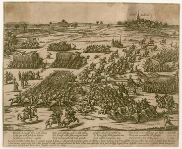 16 -8 Overzicht in vogelvlucht van de slag bij Hardenberg in 1580, de stad is weergegeven op de achtergrond., 1600