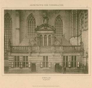 16 -9 Foto van de Hoofdwacht in Zwolle, voor de Michaelskerk of Grote Kerk, 1900