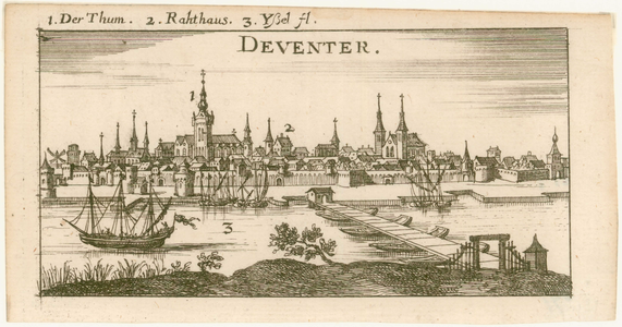 2 -12 Gezicht op Deventer, met een summiere verklaring: 1. Der Thum, 2. Rathaus, 3. Yssl fl., 1600