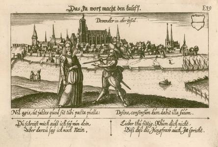 2 -13 Gezicht op Deventer, met op de voorgrond een uitbeelding van het gezegde. Met als onderschrift een verklaring van ...
