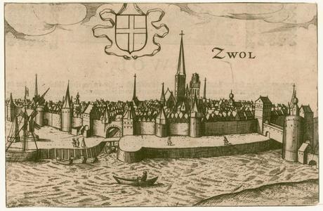 2 -14 Gezicht op Zwolle van over het Zwarte Water gezien., 1600